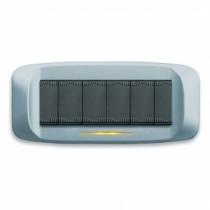 Placca AVE Azzurro pastello micalizzato 6 moduli Banquise 45 45PB96AZM