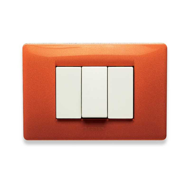 Placca Master Mix Arancio tibet in tecnopolimero 3 posti 21MX333