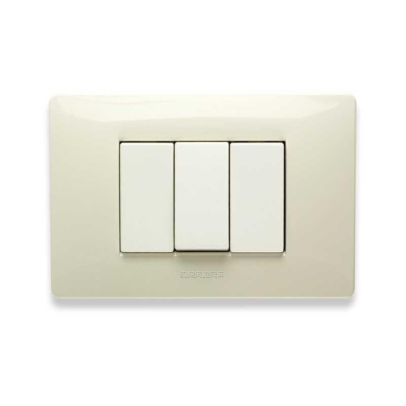 Placca Master Mix Bianco safari in tecnopolimero 3 posti 21MX283