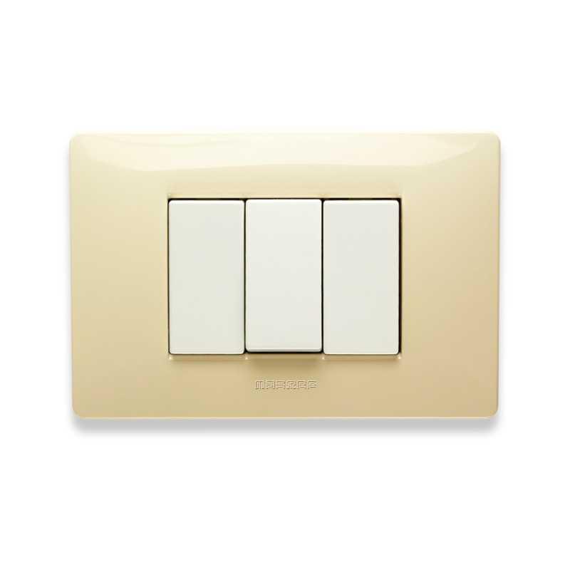 Placca Master Mix Bianco Parigi in tecnopolimero 3 posti 21MX123