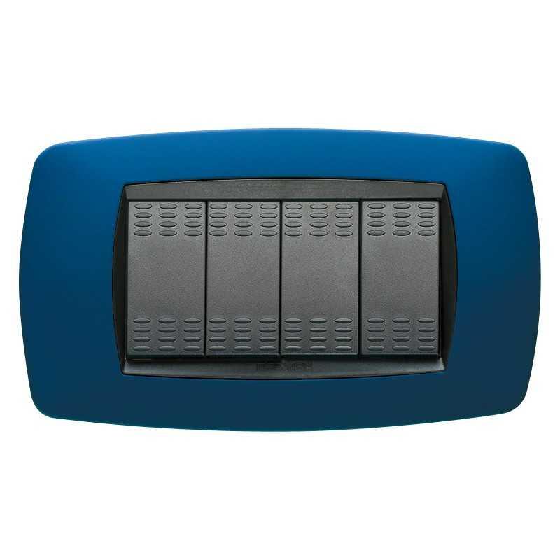 Placca Master Modo blu soft in tecnopolimero 4 posti 39TC734