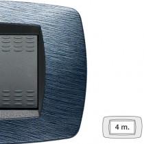 Placca Master Modo Satinato blu in tecnopolimero 4 posti 39TC524