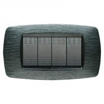 Placca Master Modo Satinato grigio in tecnopolimero 4 posti 39TC514