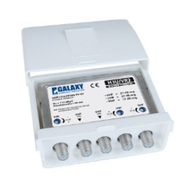 Amplificatore DT 2xUHF(27dB reg.) +1xVHF(17dB reg.) - 2 OUT+cc  H3UVR GALAXY