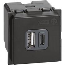 Caricatore USB 3A con ingressi A e C Alimentazione 220V Uscita 5V Ticino K4287C2