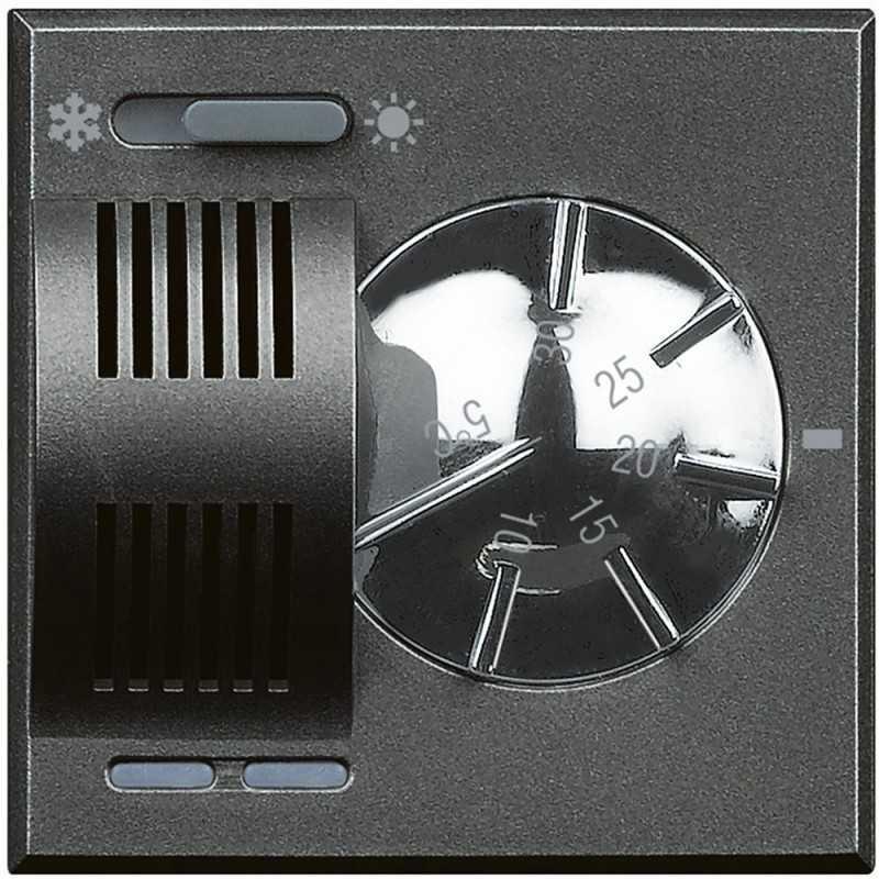 Termostato Ambiente Elettronico Con Commutatore Estate/ Inverno 2 Posti Serie Civili Bticino Axolute Scura HS4442