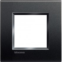 Placca quadra 2 moduli antracite Bticino Livinglight LNA4802AR