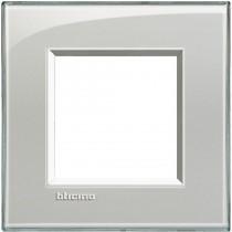 Placca quadra 2 moduli grigio ghiaccio Bticino Livinglight LNA4802KG