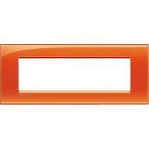 Placca 7 posti quadra arancio deep Bticino LivingLight LNA4807OD