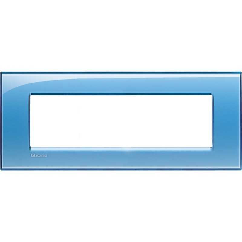 Placca 7 posti azzurro deep Bticino LivingLight LNA4807AD