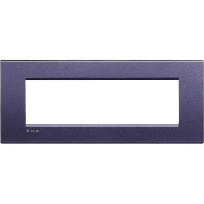Placca 7 posti quadra blu club LivingLight Bticino LNA4807CB