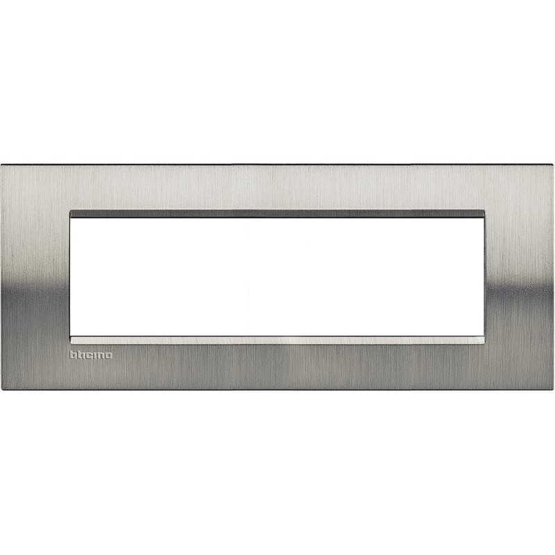 Placca 7 POSTI acciaio spazzolato LivingLight Bticino LNA4807ACS