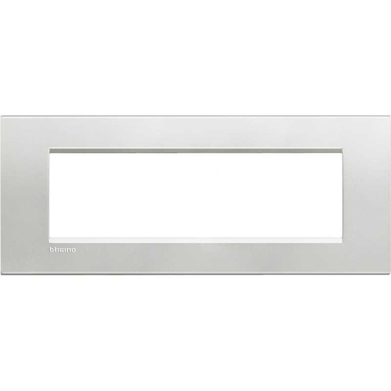 Placca 7 posti quadra argento LivingLight Bticino LNA4807AG