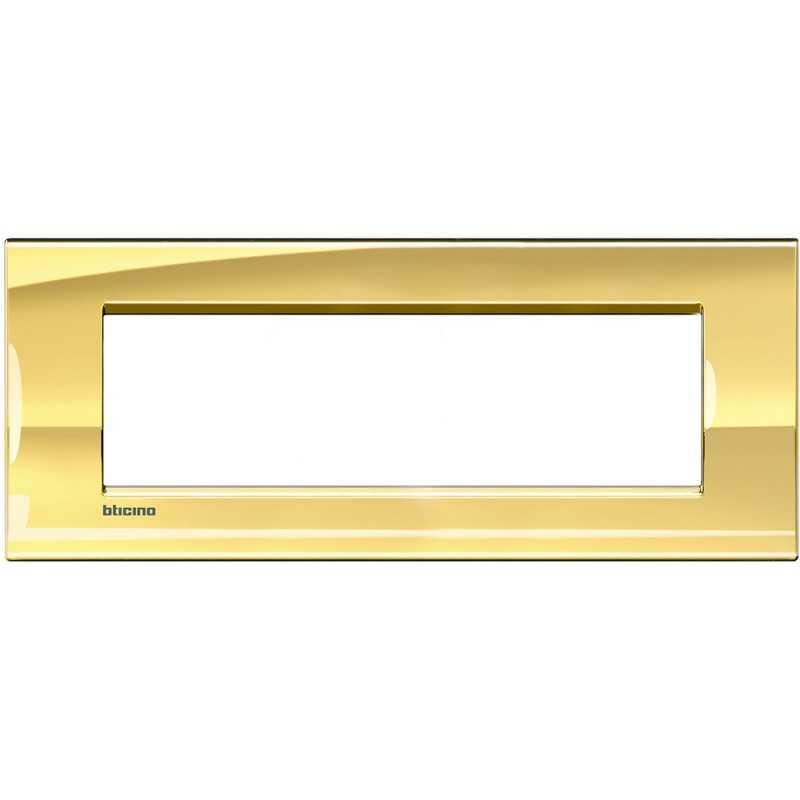 Placca 7 posti quadra oro freddo Bticino LivingLight LNA4807OA