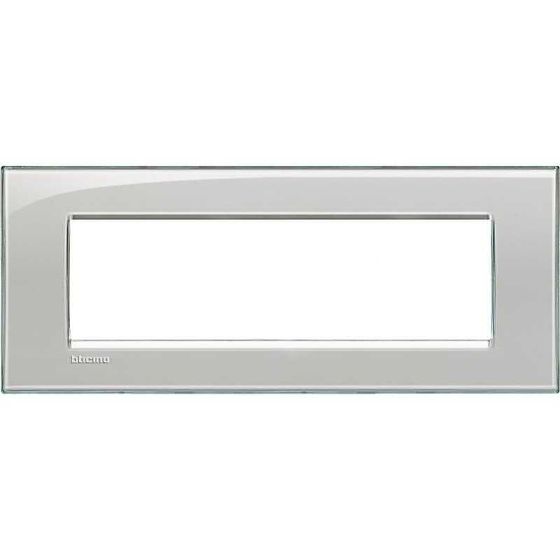 Placca 7 posti quadra grigio ghiaccio LivingLight Bticino LNA4807KG