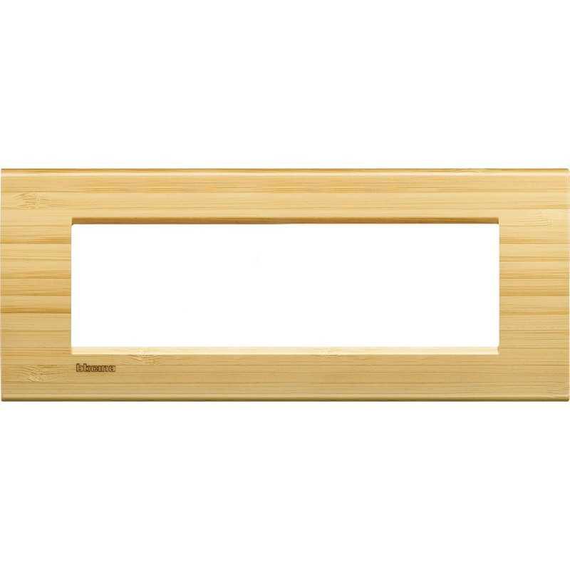 Placca 7 posti quadra bamboo LivingLight Bticino LNA4807LBA