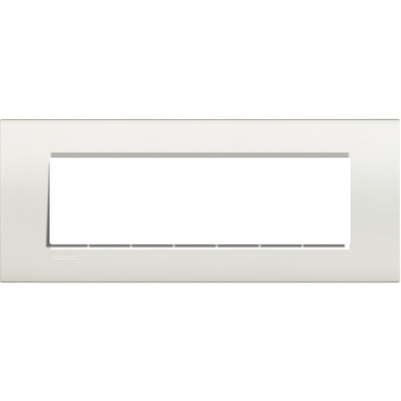 Placca 7 posti quadra bianca LivingLight Bticino LNA4807BI