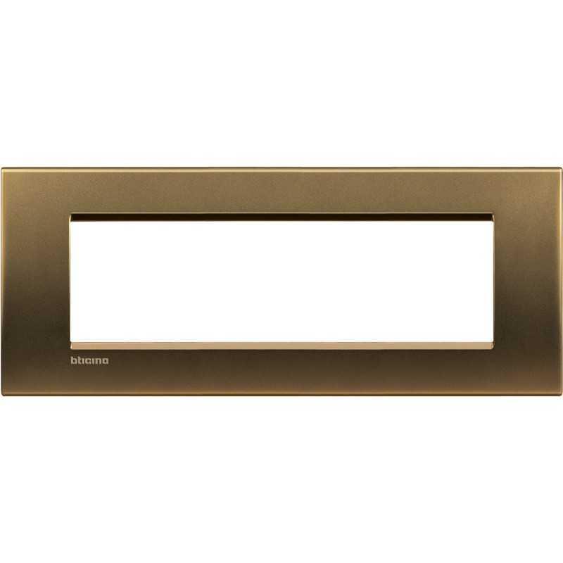 Placca 7 posti quadra bronzo LivingLight Bticino LNA4807BZ