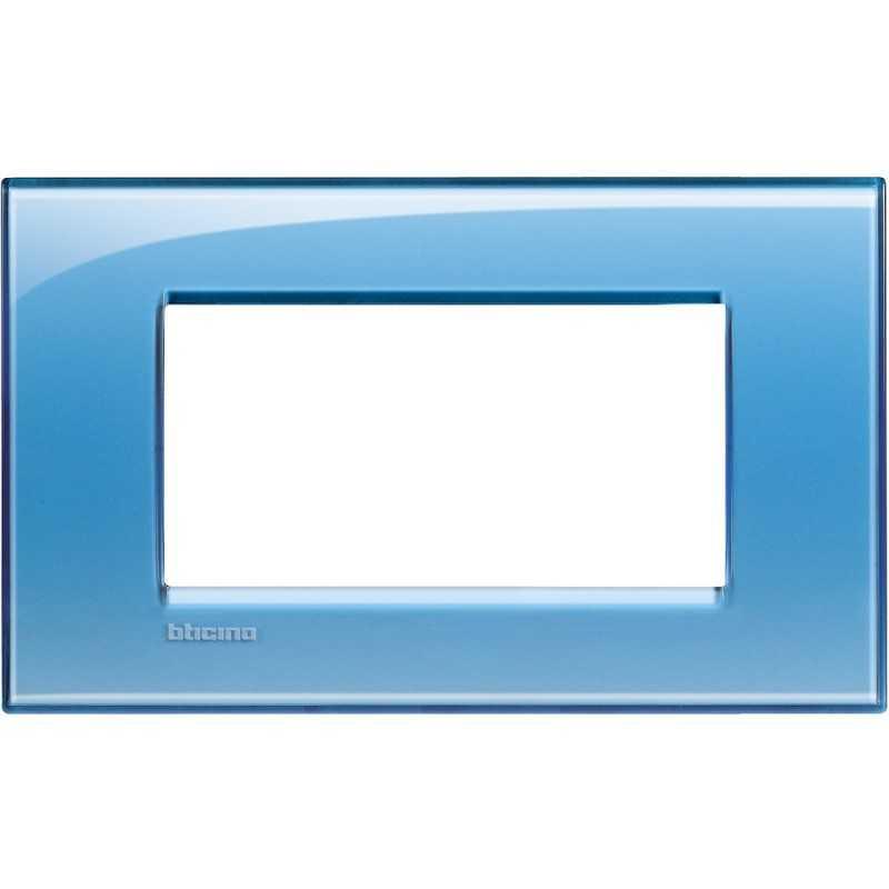 Placca 4 posti quadra azzurro deep LivingLight Bticino LNA4804AD