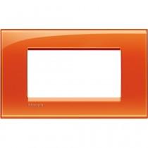 Placca 4 posti quadra arancio deep LivingLight Bticino LNA4804OD