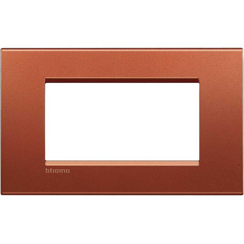 Placca 4 posti quadra brick LivingLight Bticino LNA4804RK