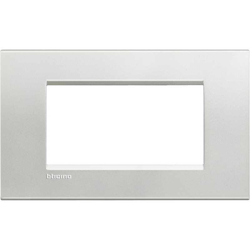 Placca 4 posti quadra argento LivingLight Bticino LNA4804AG