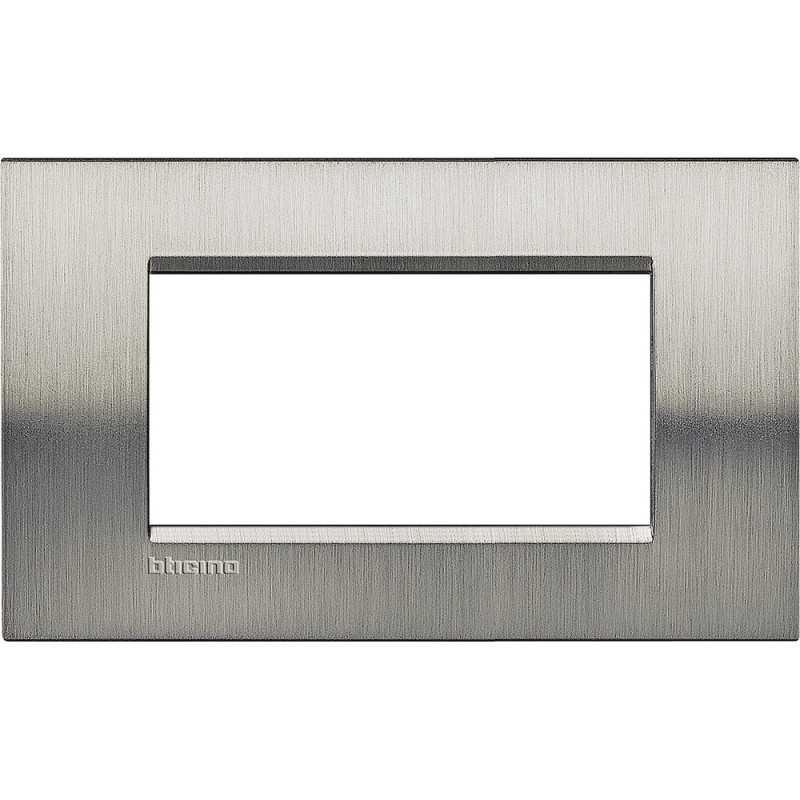 Placca 4 posti quadra acciaio spazzolato LivingLight Bticino LNA4804ACS