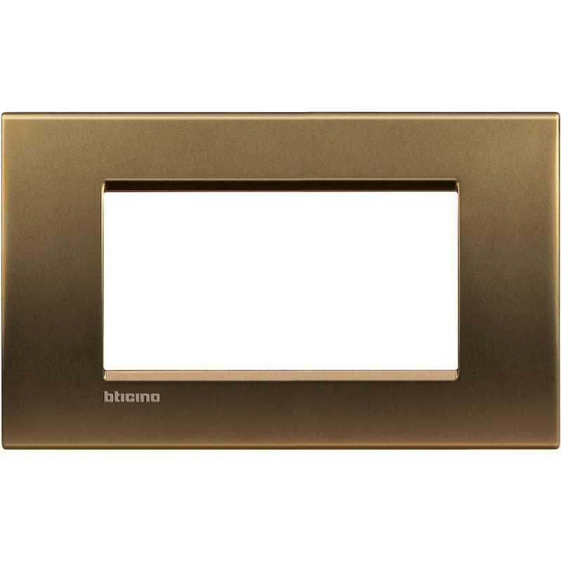 Placca 4 posti quadra bronzo lucido LivingLight Bticino LNA4804BZ