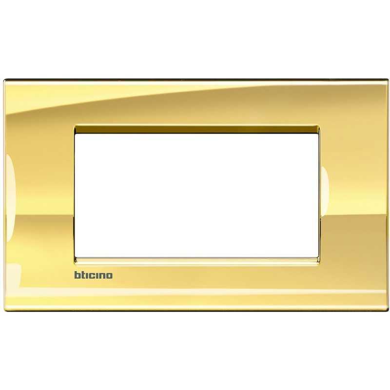 Placca 4 posti quadra oro freddo LivingLight Bticino LNA4804OA