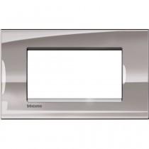 Placca 4 posti quadra nichel LivingLight Bticino LNA4804NS