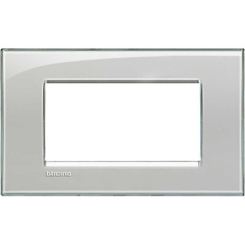 Placca 4 posti quadra grigio ghiaccio LivingLight Bticino LNA4804KG