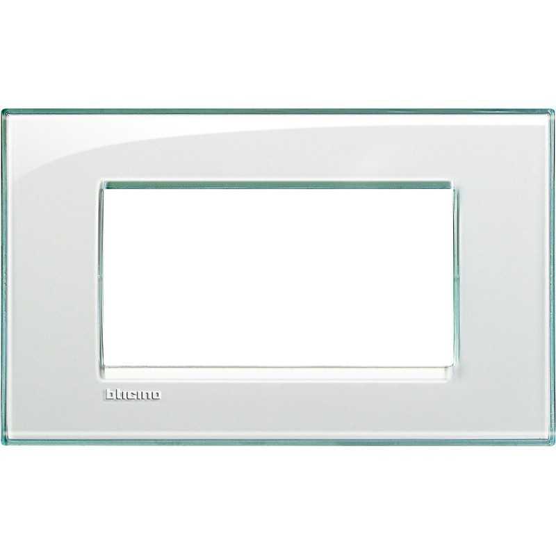 Placca 4 posti quadra acquamarina LivingLight Bticino LNA4804KA