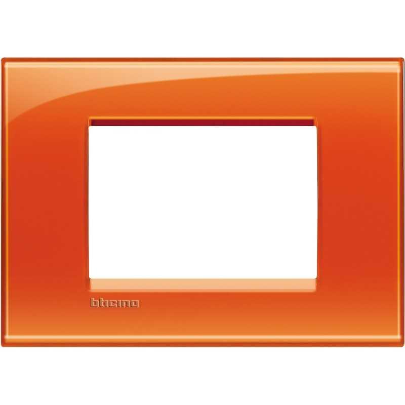 Placca 3 posti quadra arancio deep Living Light Bticino LNA4803OD