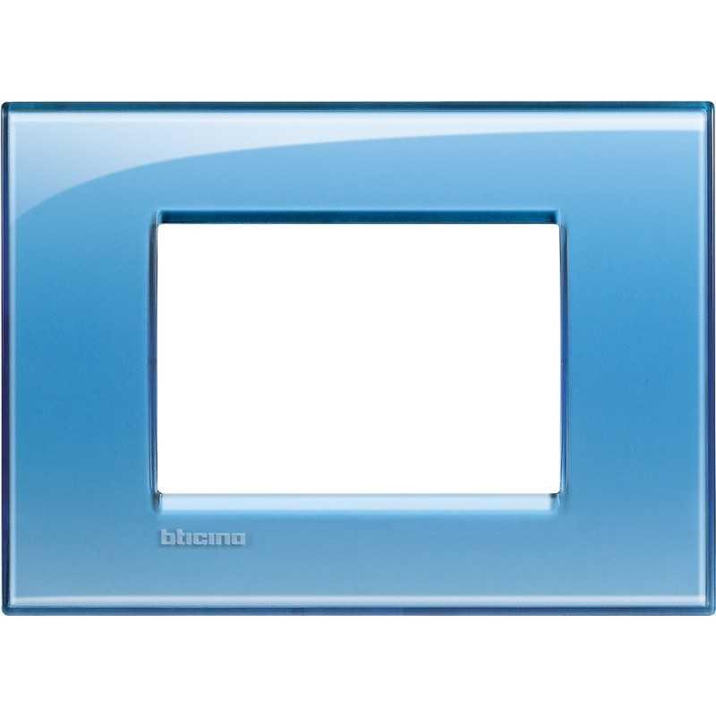 Placca 3 posti quadra azzurro deep Living Light Bticino LNA4803AD