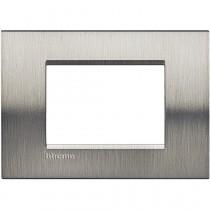 Placca 3 posti quadra acciaio spazzolato LivingLight Bticino LNA4803ACS