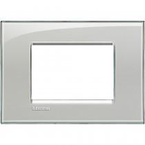 Placca 3 posti quadra grigio ghiaccio LivingLight Bticino LNA4803KG