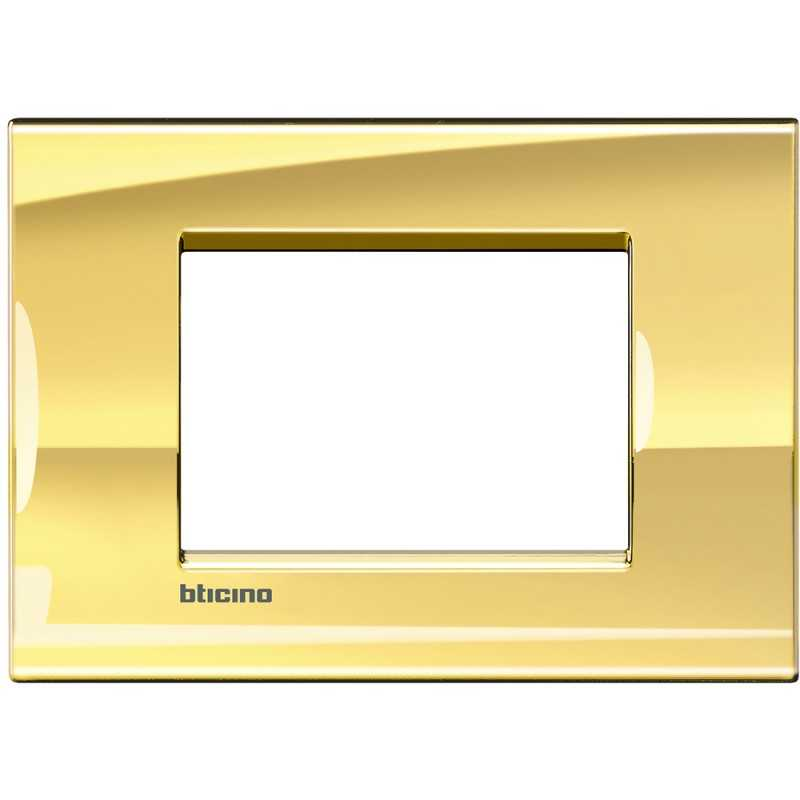 Placca 3 posti quadra oro freddo LivingLight Bticino LNA4803OA
