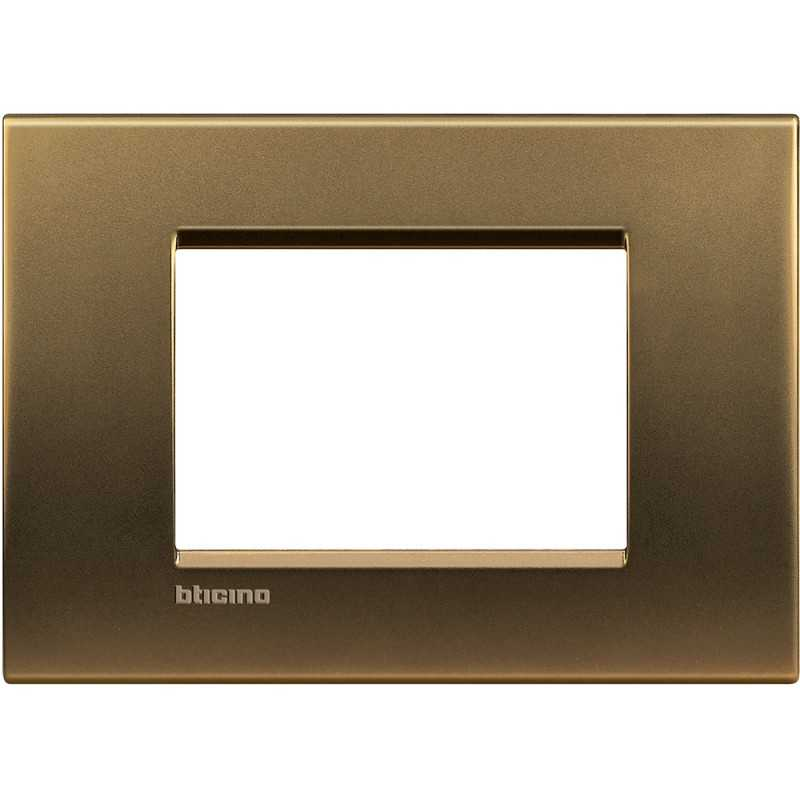 Placca 3 posti quadra bronzo LivingLight Bticino LNA4803BZ