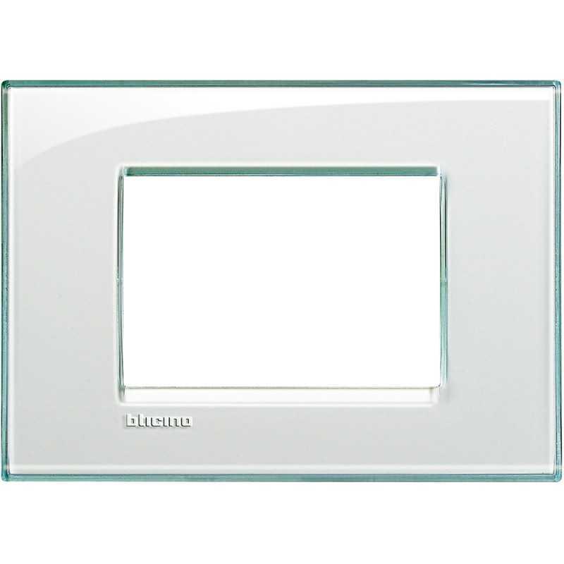Placca 3 posti quadra acquamarina LivingLight Bticino LNA4803KA