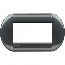 Placca 4 posti tonda acciaio scuro LivingLight Bticino LNB4804AC