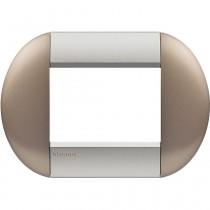 Placca 4 posti tonda twin bronze LivingLight Bticino LNB4803TB