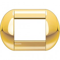 Placca 3 posti tonda oro LivingLight Bticino LNB4803OC