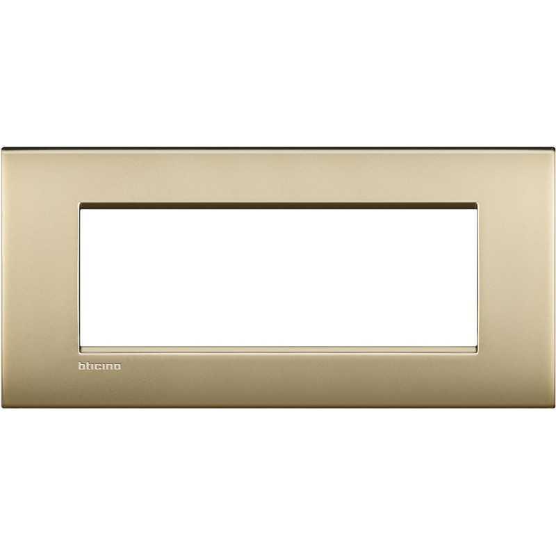 Placca 7 posti quadra oro satinato LivingLight Air Bticino LNC4807OF