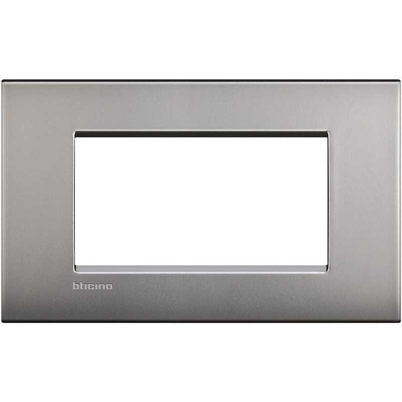 Placca 4 posti quadra nichel satinato LivingLight Air Bticino LNC4804NK