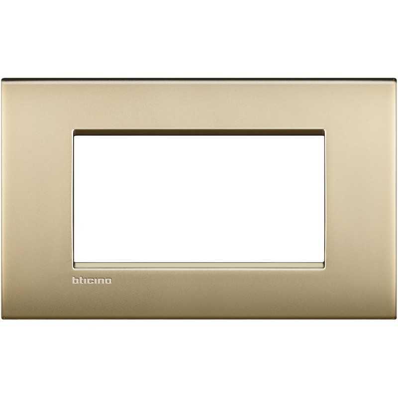 Placca 4 posti oro satinato LivingLight Air Bticino LNC4804OF