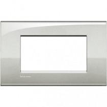 Placca 4 posti argento lunare LivingLight Air Bticino LNC4804GL
