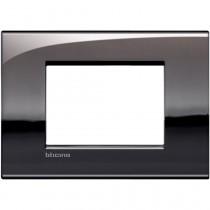 Placca 3 posti peltro lucido LivingLight Air Bticino LNC4803PT