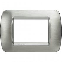 Placca 3 posti acciaio spazzolato LivingLight International Bticino L4803AST