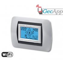 Cronotermostato Wifi display LCD retroilluminato ad incasso Argento Geca