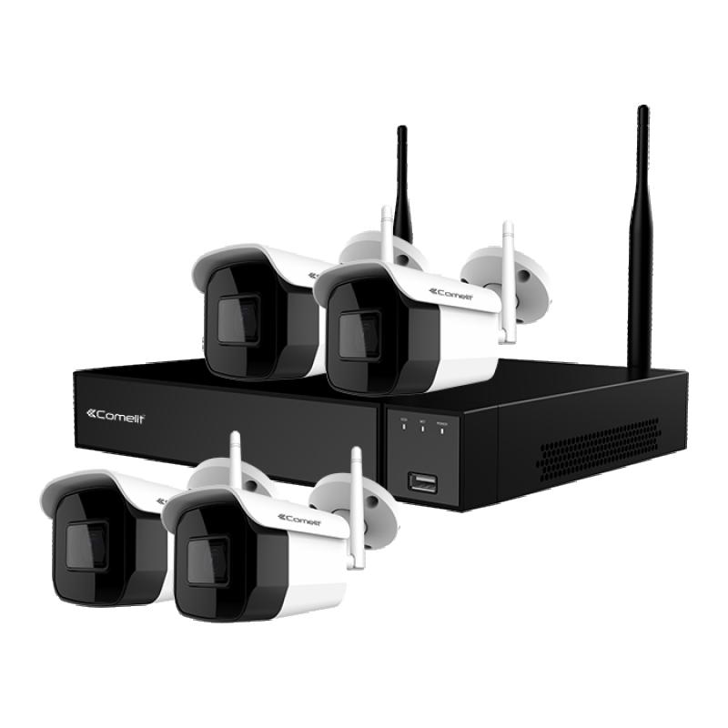 Kit WiFi con DVR 9 Ingressi IP HDD 1TB e Quattro Telecamere Full HD IP66 Comelit WIKIT004S02NA